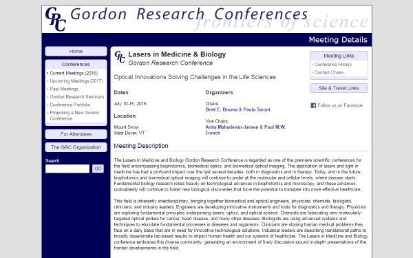Gordon Research Conference on Lasers in Medicine & Biology
