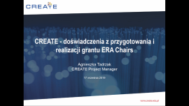 The CREATE project presentation at NCP in Warsaw